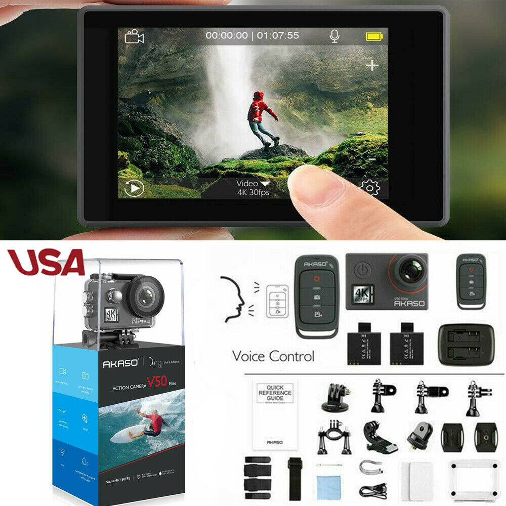 Akaso V50 Elite Ultra HD 4K/60fps Action Camera 20MP Touch Screen Voice Control 20mp action akaso camera elite screen touch ultra v50 voice