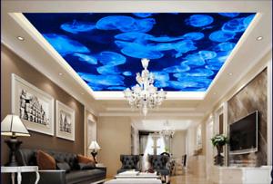 3D blue Quallen 4 Fototapeten Wandbild Fototapete BildTapete DE Lemon