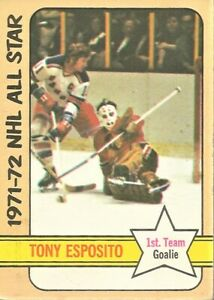 1972-73-Topps-Hockey-Tony-Esposito-Chicago-Black-Hawks-NHL-All-Stars-Card-121