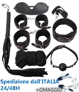 Set Kit 8 Pezzi Nero Costrittivo Ball Manette Palla Frusta Slave Fetish Collare