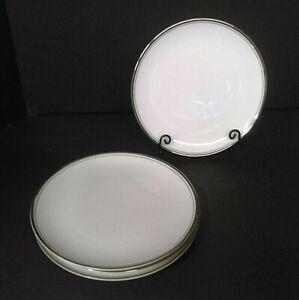 Mikasa Bone China Wellesley Narumi Japan White Platinum Band Salad Plates (4)