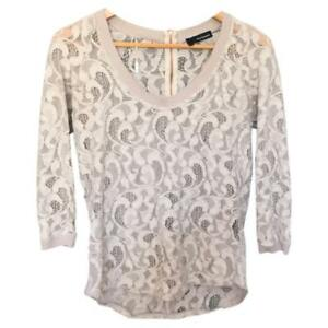 THE KOOPLES TOP DENTELLE BLANC CASSÉ MANCHES 3 4 T. S M  e6a6278da5b