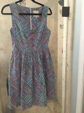 Modcloth Myrtlewood Pin Up Candy Stripe Dress Medium Anthropologie
