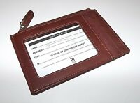 Italia Leather Slim Card Case Id Wallet With Zip Pocket Brown