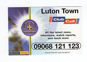 Clubcall Club llamada Fútbol Luminaria Lista Tarjeta 2001-2002 Temporada-Luton Town  </span>