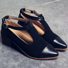 Retro Cut Out Pumps Pointed Toe T-Bar Womens Ankle Strap Mid Heels Work Shoes Sz