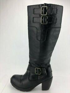 43c1850ae3c Born BOC Knee High Boots Black Leather Buckle Zip Tall Fashion Shoe ...