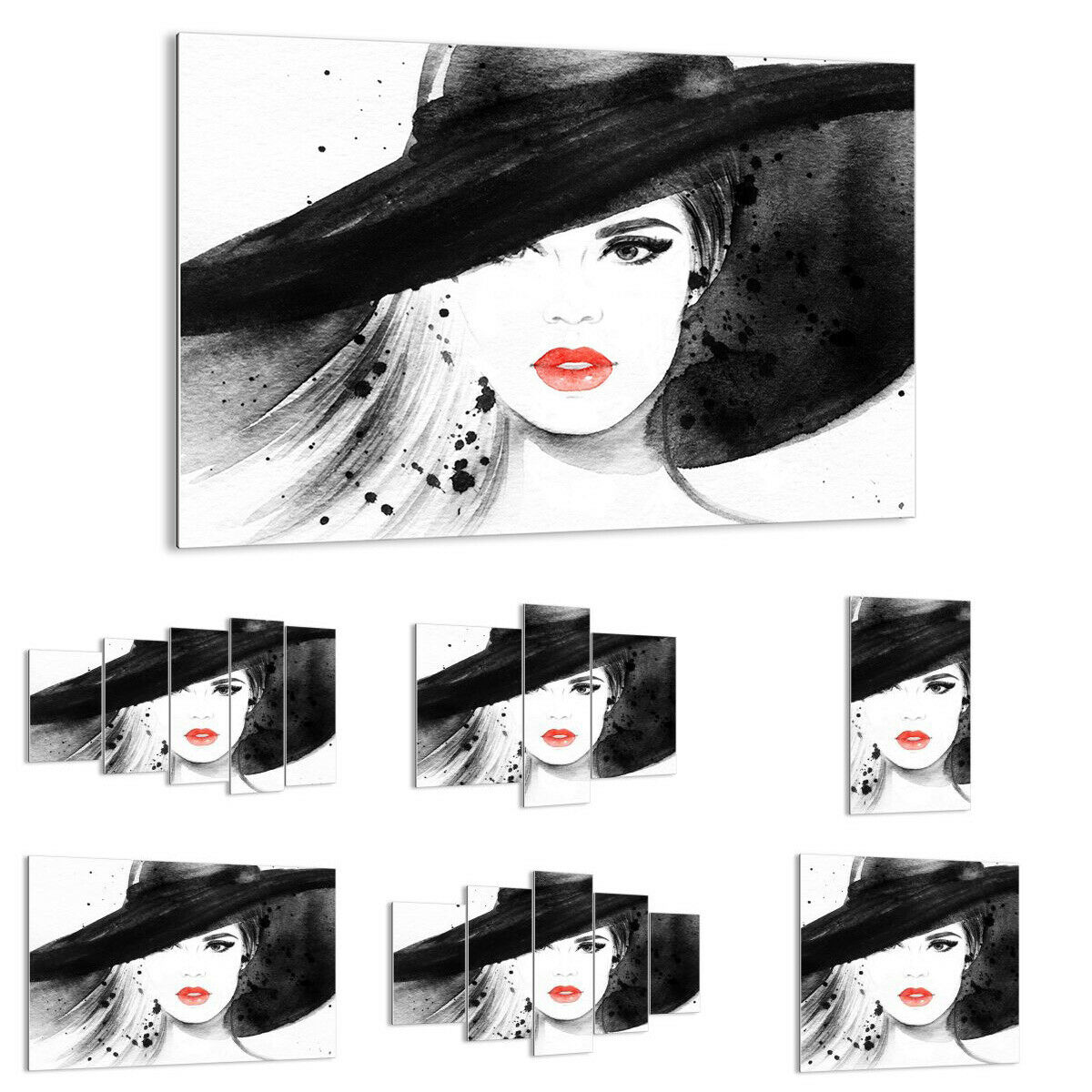 GLASS PRINTS Image Wall Art woman face lips 3916 UK