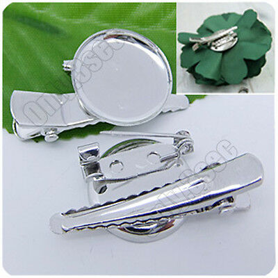 12 pcs 18KGP Dull Silver Plated Hair Clip pins Brooch clasps disk tray 19mm P138