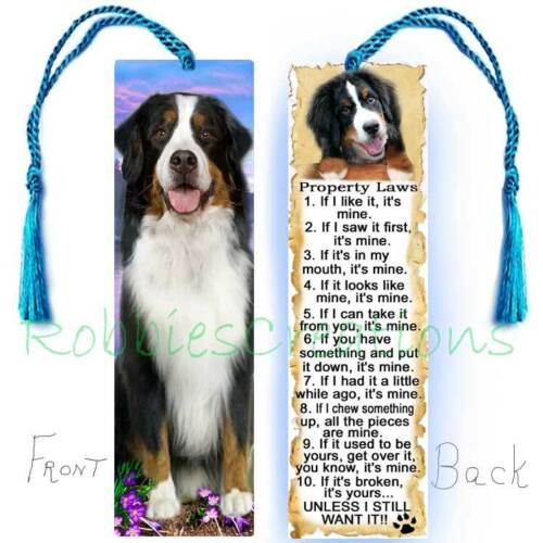 BERNESE MOUNTAIN DOG Large BOOKMARK TASSEL RULES Property Law Book Mark Art CARD