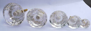 Clear-Cut-Facetted-Glass-Drawer-and-Cupboard-Pull-Door-Knob-5-Sizes-GB-seller
