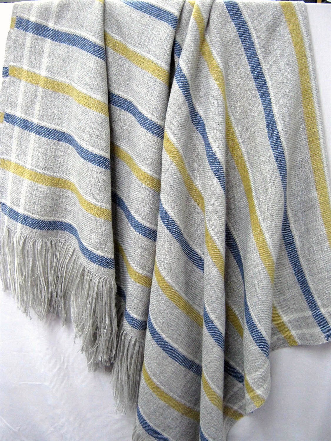 Wool Throw Blanket, Our Striped French Collection is Soft and Luxurious