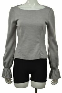 Club-Monaco-Womens-Top-Size-M-Gray-Blue-Knit-Shirt-Long-Sleeve-Wool-Blouse