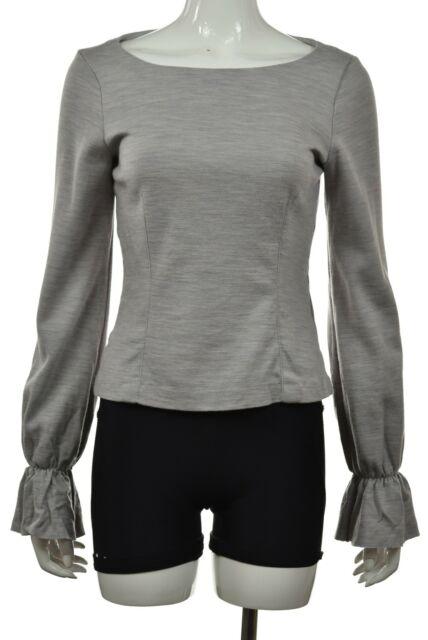 Club Monaco Womens Top Size M Gray Blue Knit Shirt Long Sleeve Wool Blouse