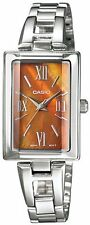 Casio Women's Silver Stainless-Steel Quartz Watch Orange Dial LTP1341D-5A