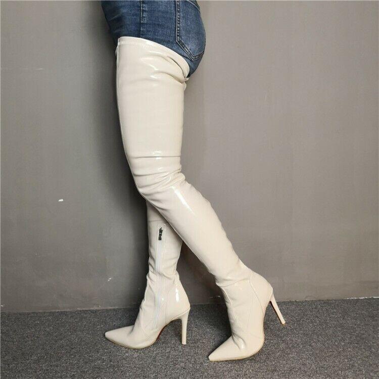 Sexy donna Pointed Toe  Stilettos Thigh High stivali bianca Heels Club Scarpe Big SZ  autentico online