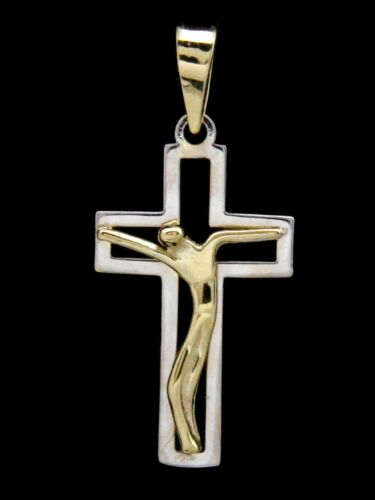 Catholic Crucifix Cross Open Solid 14k Two Tone Gold Reversible
