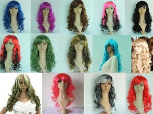 Wigs-Hair-Extensions-Display-Mannequin-Wigs-50cm-Long-red-pink-purple-blue-BNWT