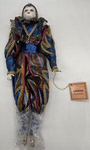 Vintage-Kingstate-Harlequin-Pierrot-Clown-Porcelain-Doll-17-Tall