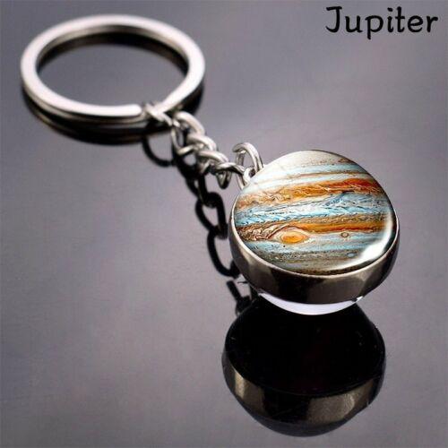 Solar System Planet Galaxy Nebula Pendant Keychain Ring Double Side Glass Ball