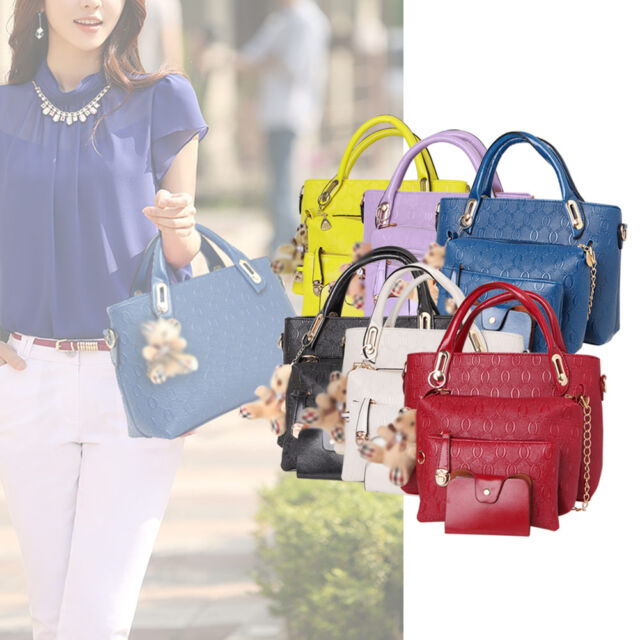876c9fc8ad0d Fashion Women 4 Piece Tote Bag PU Leather Weave Handbag Shoulder Purse Bags  Set