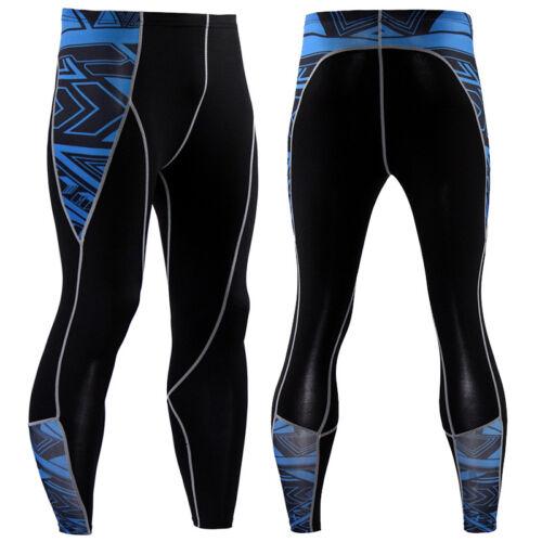 Mens Compression Tights Running Jogging Gym Long Pants Black Base layer Printed