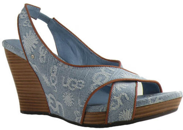 b12e70e4dd8 New  150 UGG Australia Hazel Denim Women Toe Open Shoes US 8.5 M Light Blue