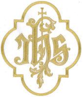 Ihs - Iota-eta-sigma Christogram W/ Latin Cross - Iron On Patch - Large 8h