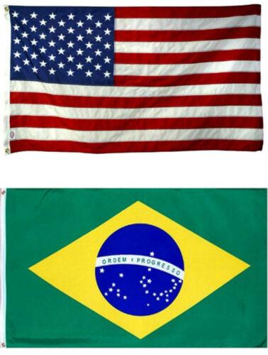 4x6 4/'x6/' Wholesale Combo USA American /& Brazil Brazilian Flag banner grommets