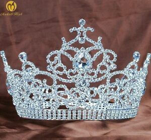 Floral-Large-Tiara-5-5-034-Crown-Rhinestones-Crystal-Beauty-Pageant-Wedding-Party
