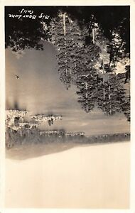 D89-Big-Bear-Lake-California-Ca-Postcard-Real-Photo-RPPC-c1940s-Birdseye-View