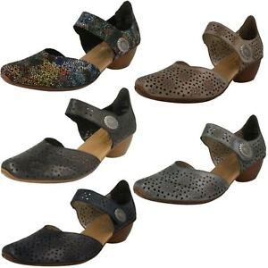 Ladies Rieker 43790 Beige Leather Smart Open Side Bar Shoes