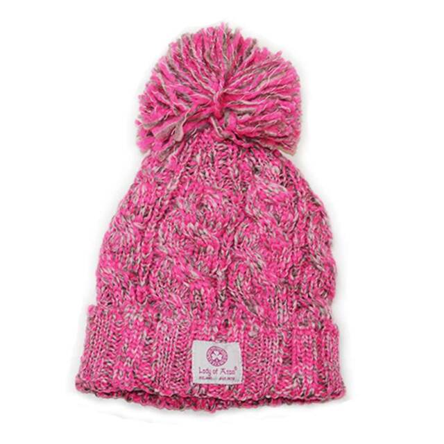 513750504e6 Lady of Aran Pink Blend Bobble Hat With Cable Knitted Design