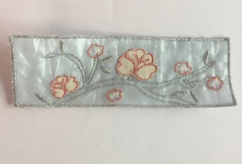 Lot de 10-brodé bleu//argent//Fleur Rose Fabrication Carte motifs #34B480