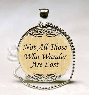 Vintage Words Cabochon Silver plated Glass with Ball Chain Pendant Necklace