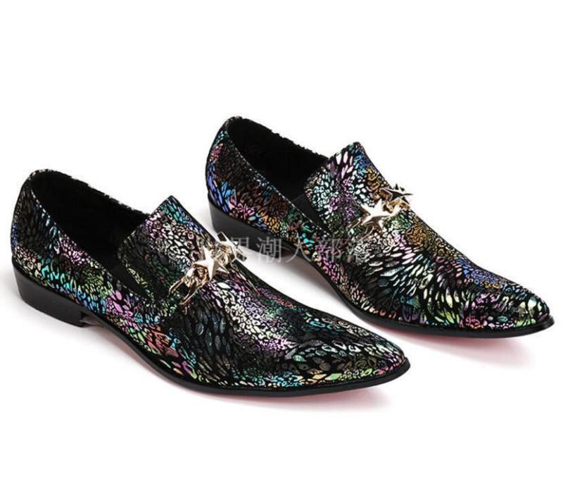 Uomo Pointed Toe Pelle Floral Formal Dress Hair Loafers Stylish Korean Loafers Hair Plus Sz bedfa8