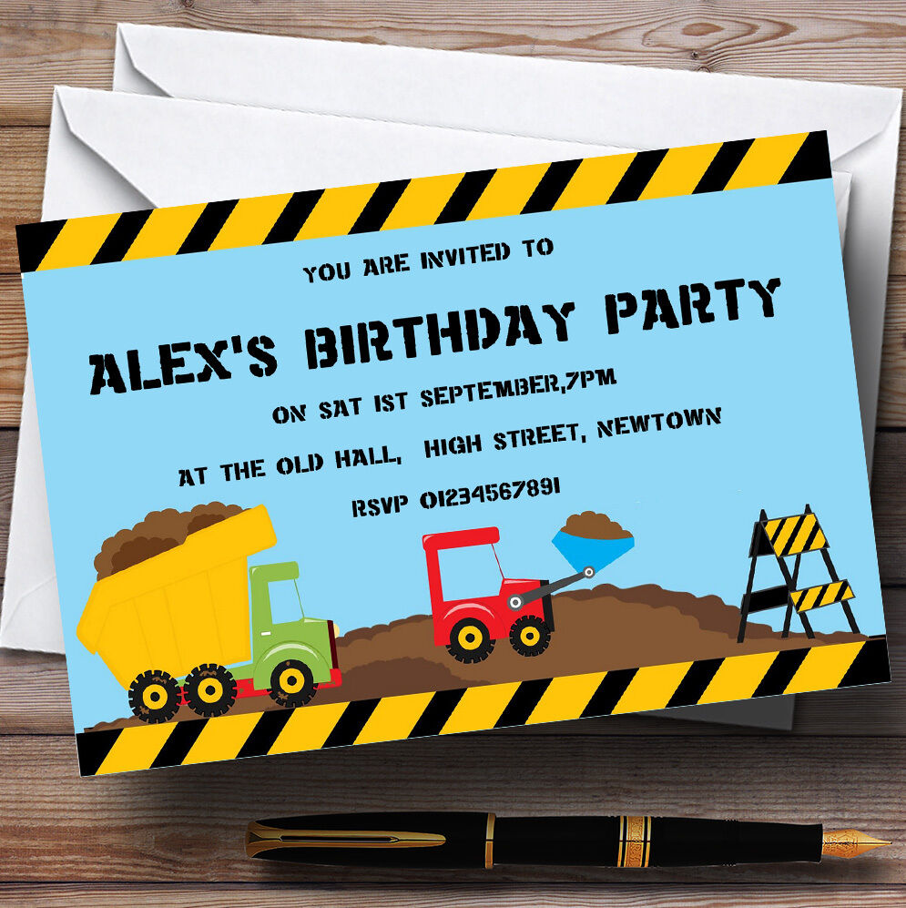 Jcb Digger Construction Building Theme Personalised Birthday Party Invitations