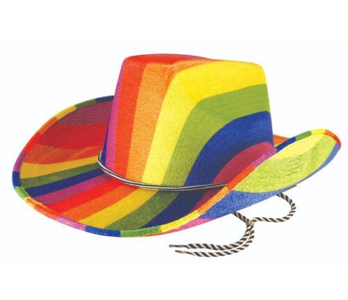 Para Hombre Vaquero Arco Iris Sombrero de Fieltro chicos Orgullo Gay Carnaval Fancy Dress Costume Sombrero