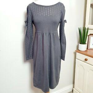 MANTARAY-UK-size-12-Dark-Grey-Knitted-Crochet-Jumper-Dress-Cold-Shoulder