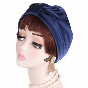 Silk Sleeping Cap Sleep Hat Night Hair Care Bonnet Scarves Hair Wrap Navy