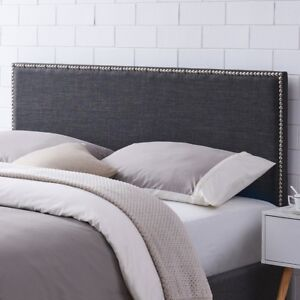 brand new 3c898 f9430 Details about Upholstered Headboard Nailhead Trim Adjustable Height  Charcoal King/Cal King