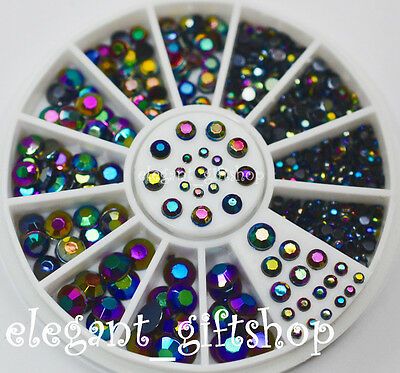 #EB5 5 Sizes Black Multicolor Acrylic Nail Art Decoration Glitter Rhinestones