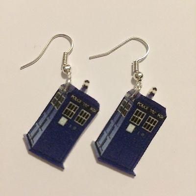 Doctor Who TARDIS Earrings HANDMADE PLASTIC CHARMS David Tennant Matt Smith