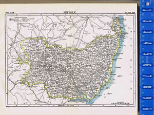 Suffolk County England Map.County Of Suffolk In England Map Print 1907 Ebay