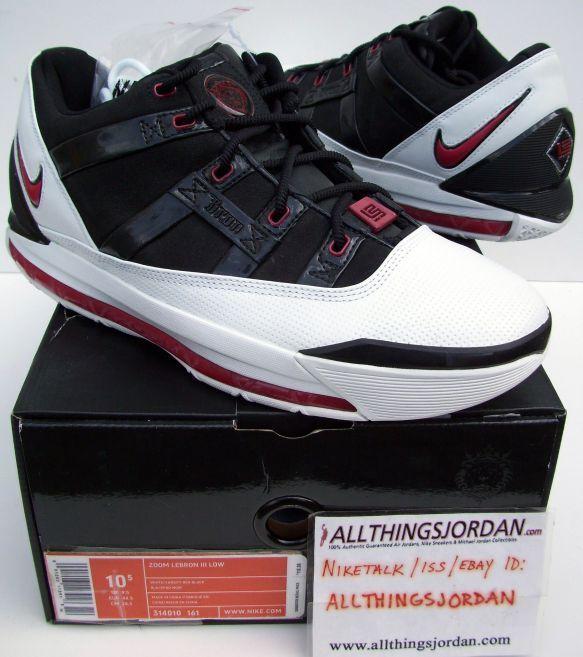 Nike AIR ZOOM LEBRON III low James 3rd shoe AZG LJ23 breds..Guaranteed Authentic