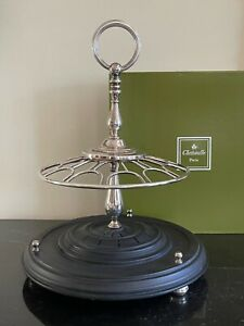Christofle France Silver Plated and Wood Flatware Stand Holder