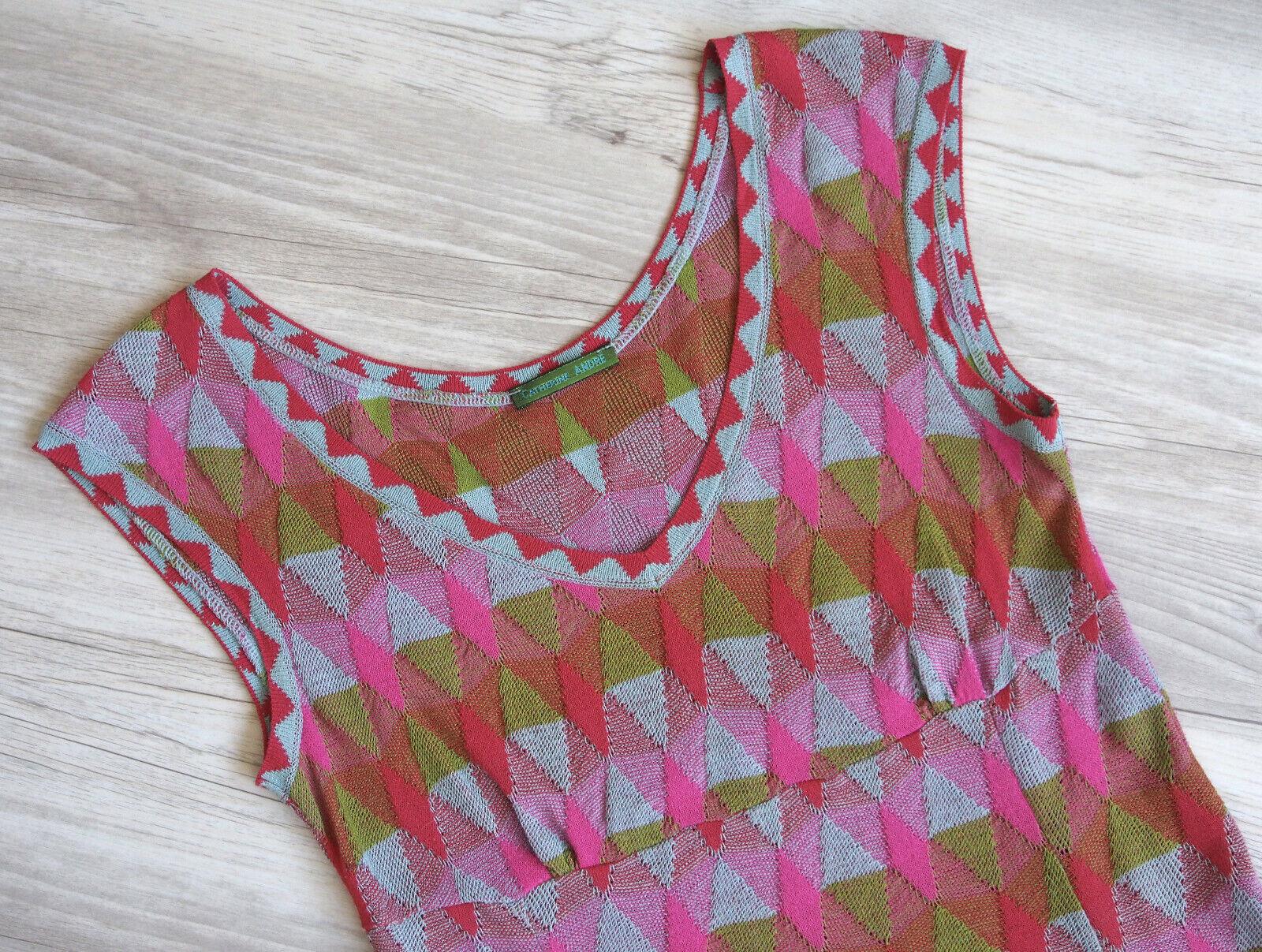 CATHERINE ANDRÉ Sommerkleid, türkis   oliv   Rosa   rot, Gr. M (fällt wie S aus)