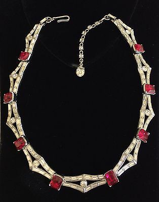 Beautiful Vintage Trifari Art Deco Style Necklace~Ruby Red/Clear RS/Silvertone