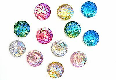 12mm Irridescent Acrylic Mermaid Scale - Dragon Egg Cabochons (12) - L674