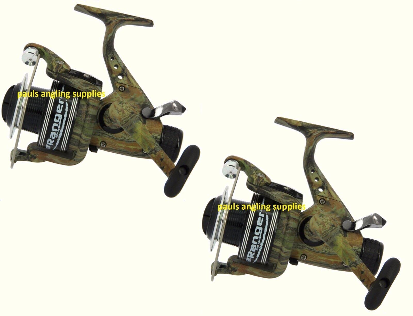 2 x Ranger CAMO Freespool Carp Fishing Reels Bait, Switch 060 Size